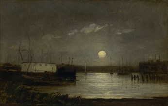 Untitled (moon over a harbor, wharf scene with full moon and masts of boats), ca. 1868.