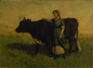 Untitled (woman walking with cow), ca. 1869.