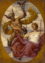 """Study for Mural at U.S. Custom House, Cleveland, OH, """"Passing Commerce Pays Tribute to the Port of Cleveland"""", 1909."""