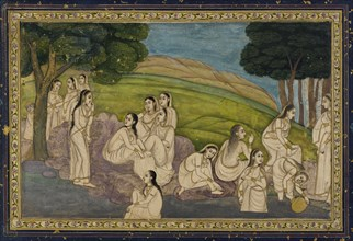 A group of women, bathing, 18th century.