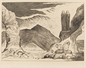 The Circle of the Falsifiers: Dante and Virgil Covering their Noses because of the stench, 1827.