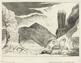 The Circle of the Falsifiers; Dante and Virgil Covering their Noses because of the stench, 1827.