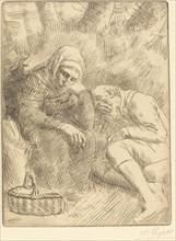 Man and Wife Seated by the Road with a Basket(Homme et femme assis au bord de la rou te aven un panier).