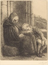 Woman Seated against a Wall, Child with His Head in Her Lap (Femme assise, muraille au fond, enfant la tete dans son giron.