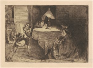 The Music Room, 1859. Deborah and Seymour Haden at left, with Haden's medical partner James Traer, 62 Sloane Street, Chelsea.