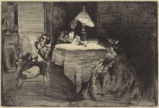 The Music-Room, 1858. Deborah and Seymour Haden at left, with Haden's medical partner James Traer, 62 Sloane Street, Chelsea.