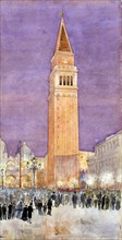 Bell Tower, St. Mark's Square, Venice, 1912.