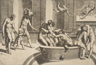Men and women bathing, some embracing, 1531-76.