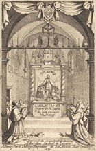 """Frontispiece for the Miracles and Graces of Our Lady of """"Bon-Secours-les-Nancy""""."""