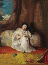 Jeune fille mauresque, assise dans un riche intérieur (Almée), 1853. Private Collection.