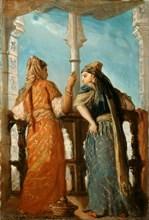 Jewish Women at the Balcony, Algiers, 1849. Creator: Chassériau, Théodore (1819-1856).