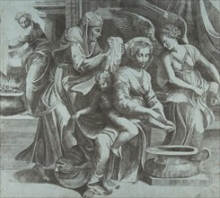 The Virgin washing the Christ Child accompanied by figures and an angel at right, ..., ca. 1550-60. Creator: Giulio Bonasone.