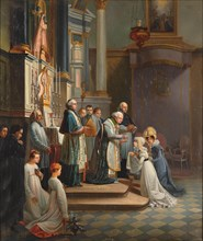 Visit of the Duchess of Berry to the Church of Notre Dame de Liesse in April 1819. Creator: Pingret, Édouard-Henri-Théophile (1788-1875).