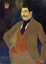 Portrait of the novelist Paul Adam (1862-1920), c. 1900. Creator: Feure, Georges de  .