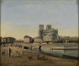 Apse of Notre-Dame, seen from the Quai de la Tournelle, 1860. Creator: Harrouart, Emile (1826-?).