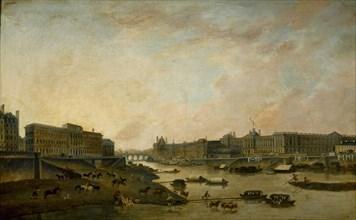 L'Hôtel de la Monnaie et le Louvre, vus du Pont-Neuf, c. 1800. Creator: Demachy, Pierre-Antoine (1723-1807).