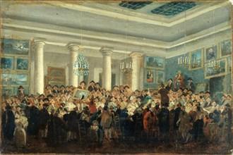Vente publique de tableaux (Public sale of paintings), c. 1785. Creator: Demachy, Pierre-Antoine (1723-1807).