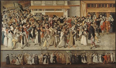 Procession of the Holy League in the Streets of Paris, ca 1590. Creator: Bunel, François, the Younger (1552-1599).