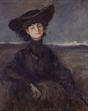 Portrait of Anna-Elisabeth, Comtesse Mathieu de Noailles (1876-1933), c. 1905. Creator: Forain, Jean-Louis (1852-1931).