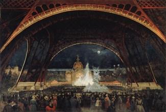 Fête de nuit à l'Exposition universelle de 1889, sous la tour Eiffel, c. 1889. Creator: Roux, George (1853-1929).