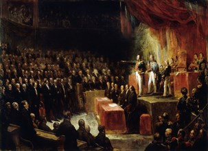 Louis-Philippe takes the oath on the constitution before the chambers on August 9, 1830, 1830. Creator: Scheffer, Ary (1795-1858).