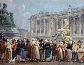 Exposition de Pierre Nicolas Perrin sur la place de la Révolution, le 29 vendémiaire, c. 1793. Creator: Demachy, Pierre-Antoine (1723-1807).