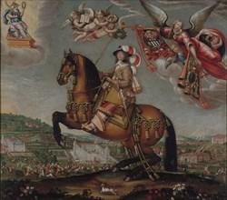 Equestrian Portrait of Alberte-Barbe d'Ernécourt, Dame de Saint-Baslemont, c.1630. Creator: Deruet, Claude (1588-1660).