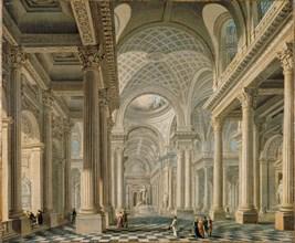 Interior of the L'église de la Madeleine after the design of the architect Pierre..., c.1763. Creator: Demachy, Pierre-Antoine (1723-1807).