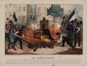 Burning of the throne of the King Louis Philippe on February 25, 1848..., ca 1848. Creator: Anonymous.