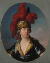 Portrait of Henri-Louis Lekain (1728-1778) as Genghis Khan in the play..., End of 1750s. Creator: Lenoir, Simon Bernard (1729-1791).