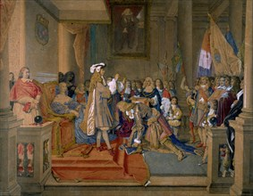 Marshal Berwick receiving from King Philip V of Spain the Order of the Golden Fleece, 1864. Creator: Ingres, Jean Auguste Dominique (1780-1867).