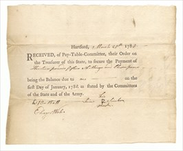 Voucher of payment to Private Prince Simbo, March 20, 1783. Creator: Unknown.