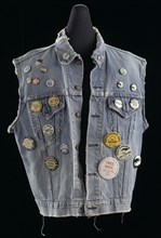 Commemorative denim vest with buttons assembled by Joan Trumpauer Mulholland, 1960s. Creator: Unknown.