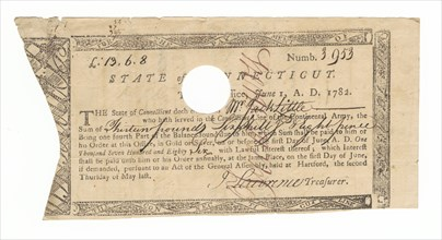 Receipt for payment to Jack Little for his service in the Continental Army, 1782. Creator: Unknown.