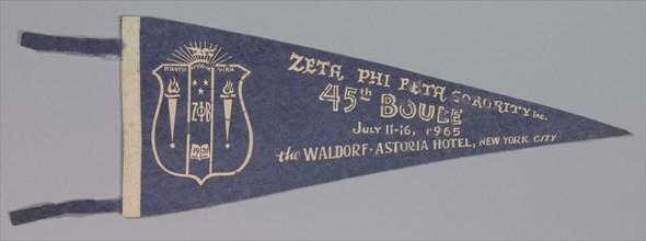 Pennant for the Zeta Phi Beta sorority's 45th Boulé, 1965. Creator: Unknown.