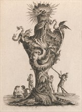 Design for a large Vase representing 'Fire', Plate 6 from: 'Neu inventierte..., Printed ca. 1750-56. Creator: Jacob Gottlieb Thelot.