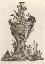 Design for a large Vase representing 'Water', Plate 5 from: 'Neu inventiert..., Printed ca. 1750-56. Creator: Jacob Gottlieb Thelot.