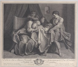 Jacob crying into his son's robe while his other sons pull it away from him, 1724. Creator: François de Poilly.