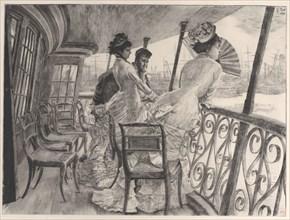 "The Gallery of H.M.S. Calcutta (Souvenir of a Ball on Shipboard) (La galerie du ""Calcutta""..., 1876. Creator: James Tissot."