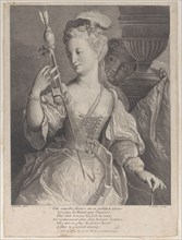 Young woman spinning thread for an arrow, 1686-1741. Creator: François de Poilly.
