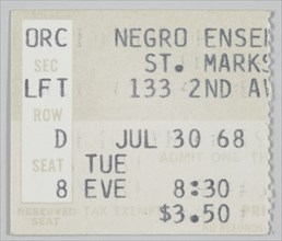 Ticket stub for Song of the Lusitanian Bogey and Daddy Goodness, July 30, 1968. Creator: Unknown.