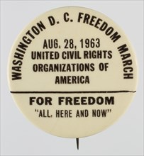 Pinback button for the 1963 Freedom March, 1963. Creator: Unknown.