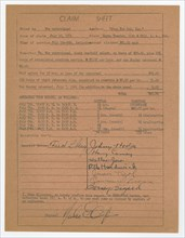 Claim sheet for unpaid salary for orchestra musicians, 1941. Creator: Unknown.
