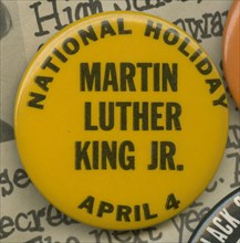 Pinback button for a national holiday for Martin Luther King, Jr., mid-20th century. Creator: Unknown.