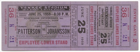 Ticket to a boxing match between Floyd Patterson and Ingemar Johansson, June 25, 1959. Creator: Unknown.
