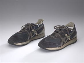 Pair of blue sneakers worn by Wellington Webb while campaigning, 1991. Creator: ASICS.