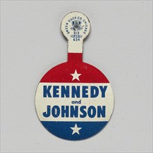 Folding tab button for Kennedy - Johnson 1960 presidential campaign, 1960. Creator: Green Duck Company.