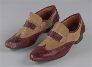 Red and cream loafers designed by Pierre Cardin and worn by Fats Domino, late 20th Century. Creator: Unknown.