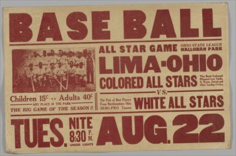 Poster for an All Stars baseball game, 1930s. Creator: Unknown.