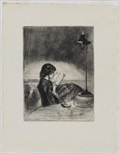Reading by Lamplight, 1858. Creator: James Abbott McNeill Whistler.